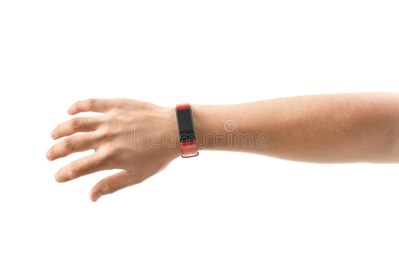Male hand with smart watch on white background royalty free stock photography