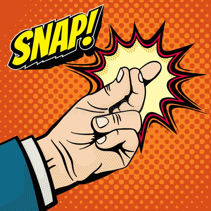 Male hand with snapping finger magic gesture. Its easy vector concept in pop art style. Finger snap gesture, snapping click gesturing expression, vector royalty free illustration