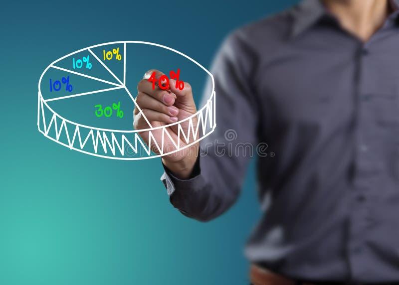 Male hand som tecknar ett diagram royaltyfria foton