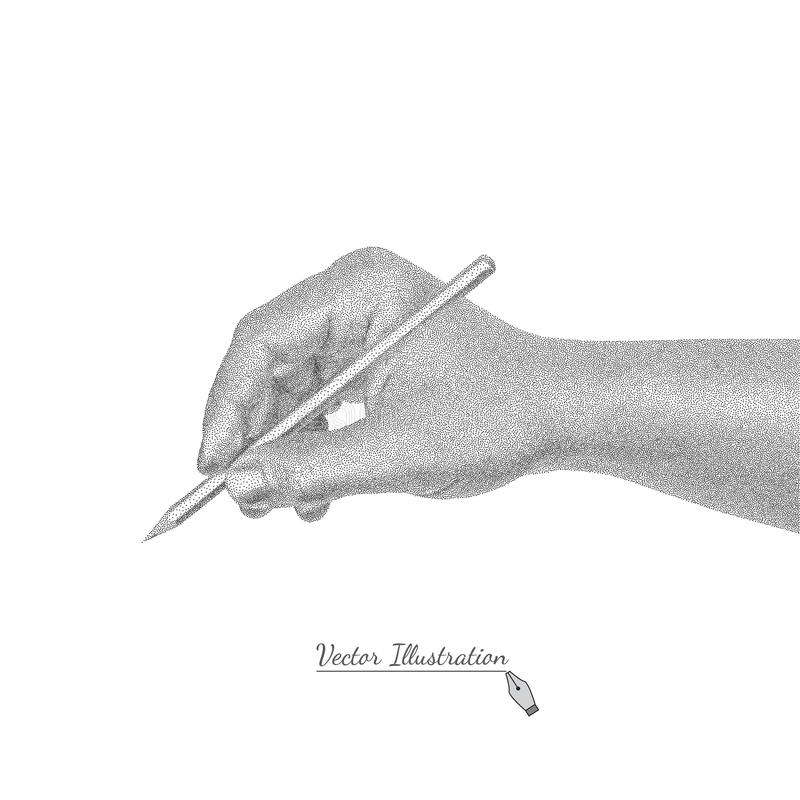 Male hand in style black a white engraving writes by a pencil. Vector male hand in style black and white engraving writes by a pencil. Isolated on the white vector illustration