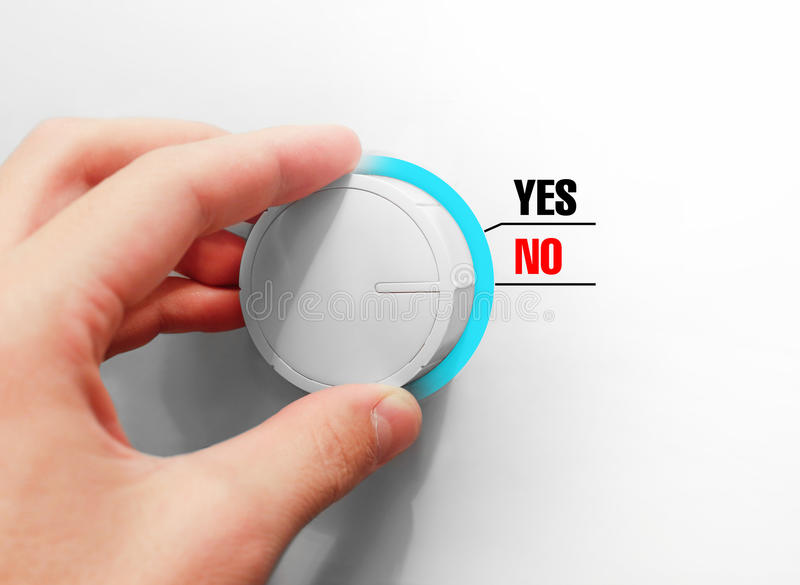 Male hand turns the switch. Switches red Yes. Chose the Yes. Male hand turns the switch. Switches Yes No. Chose the No royalty free stock photography