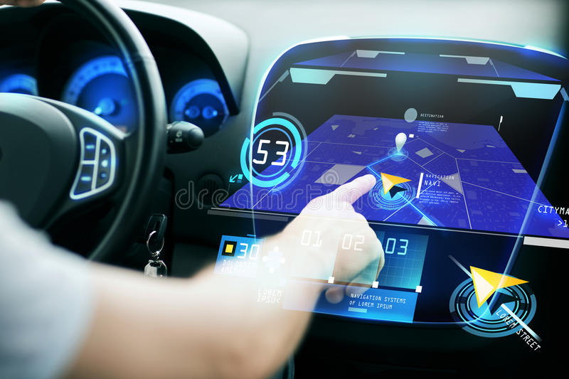 Male hand using navigation system on car dashboard. Transport, destination, modern technology and people concept - male hand searching for route using navigation vector illustration
