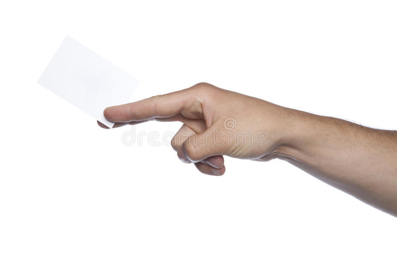Male hand on a white background holding a card royalty free stock photography