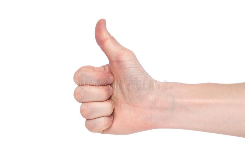 Male hand on a white background shows like. Copy space royalty free stock photography