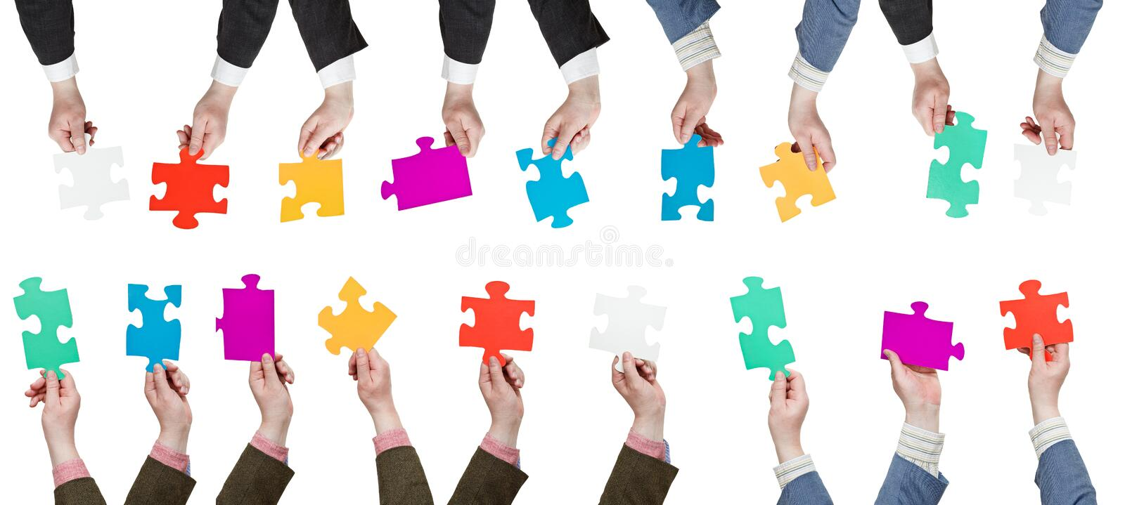 Male hands with different puzzle pieces. Set of male hands with different puzzle pieces isolated on white background stock photography
