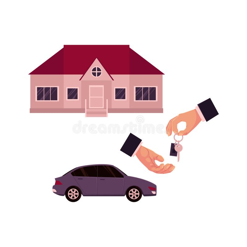 Male hands giving and taking a key, car and house. Home, property purchase, rent, sale concept, cartoon vector illustration on white background. Male hands royalty free illustration