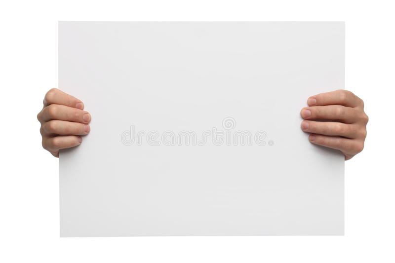 Male hands holding blank paper isolated royalty free stock photo