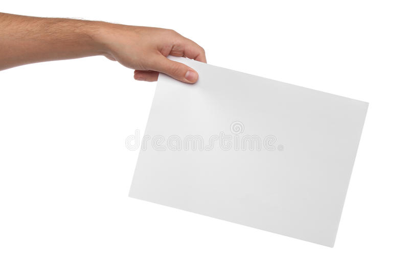 Download Male Hands Holding Blank Paper Isolated Stock Image - Image: 42835417