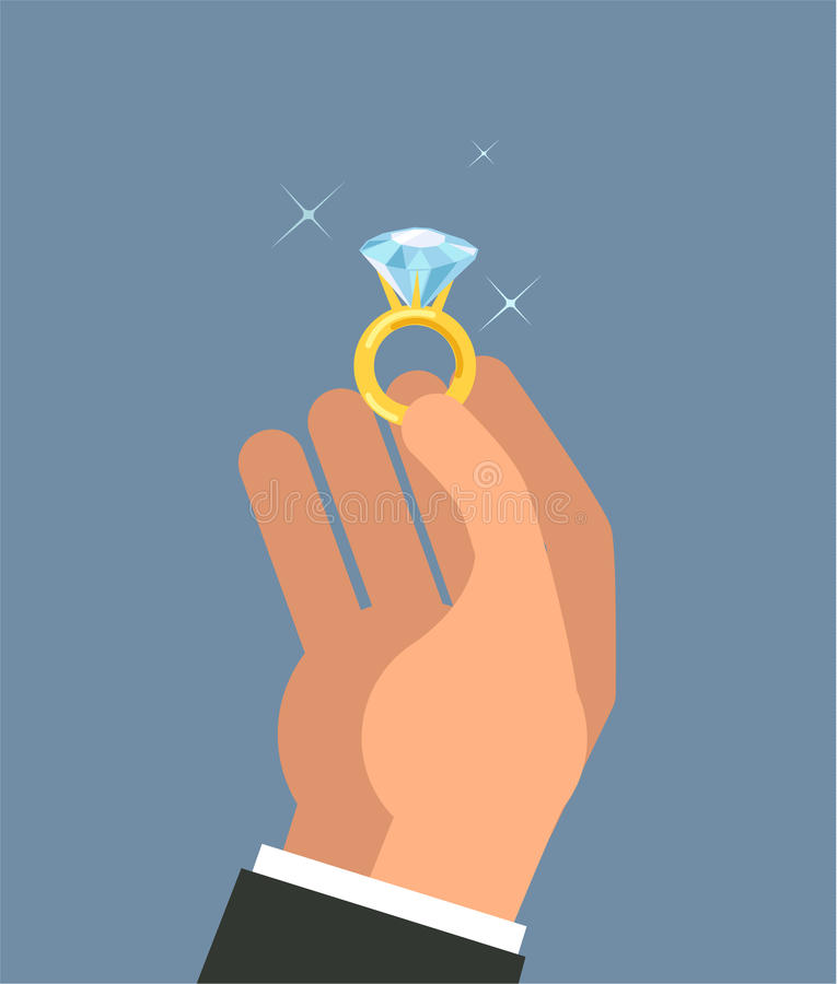 Male hands holding engagement ring in flat style vector illustration