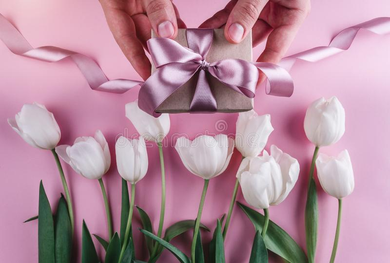Male hands holding a gift with ribbons over pink background with white tulips. royalty free stock photo
