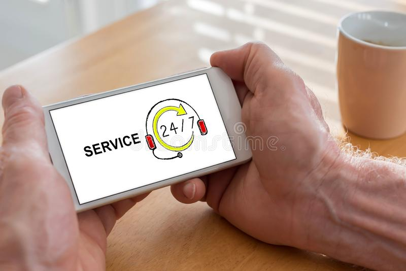 Service concept on a smartphone stock images