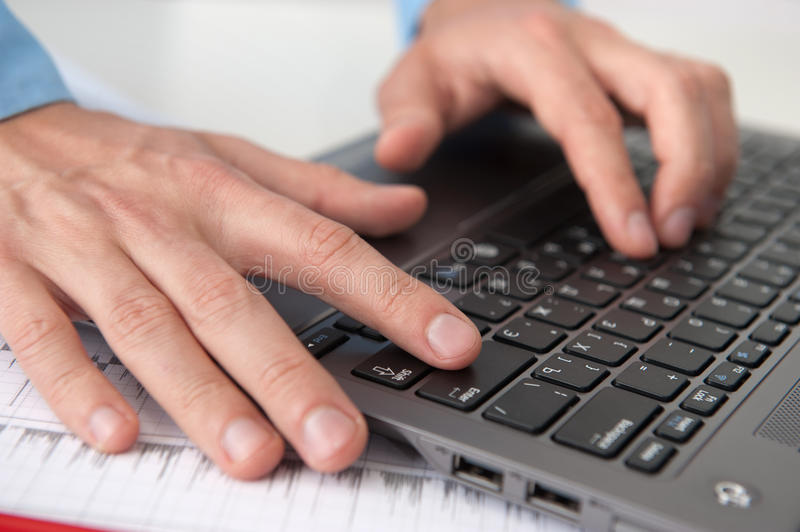 Download Male hands with laptop stock photo. Image of equipment - 26463738