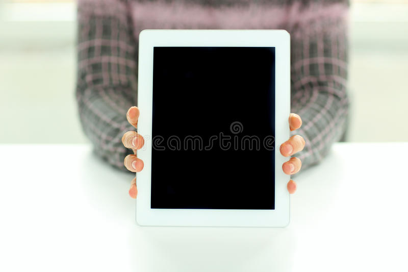 Male Hands Showing Display Of Tablet Computer Stock Photo
