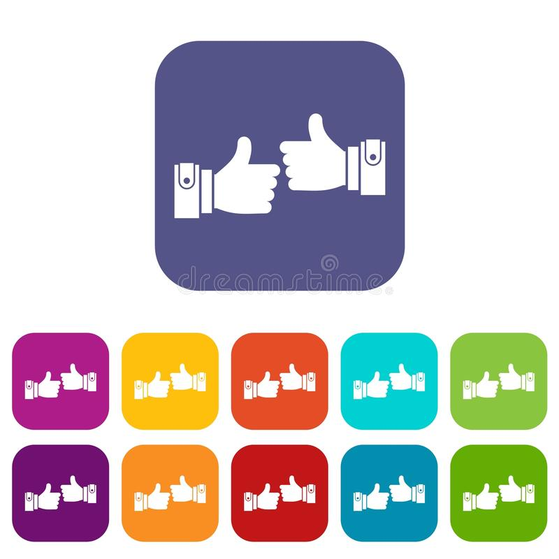 Male hands showing Ok sign icons set. Vector illustration in flat style in colors red, blue, green, and other stock illustration