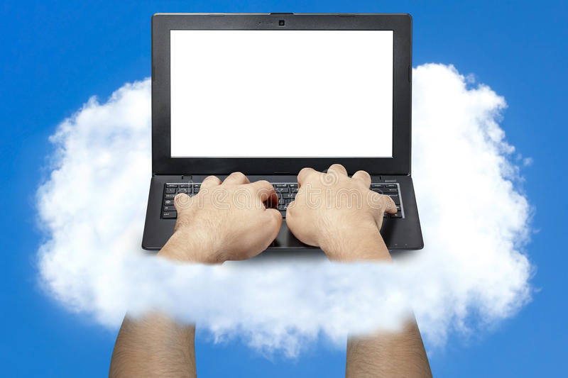 Male Hands Typing Laptop Cloud Clouding royalty free stock photo