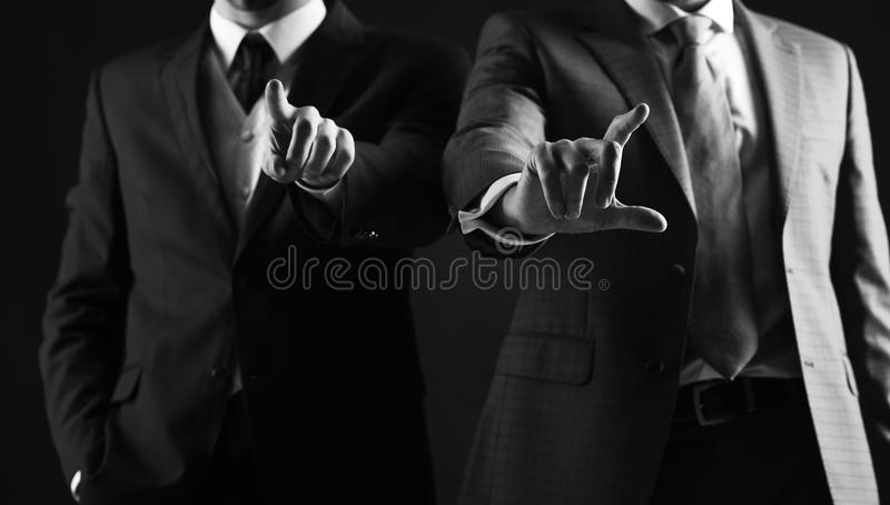 Male hands use modern screen. Partnership and support. Update technologies, innovations and communication concept. stock photo