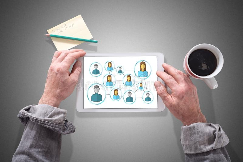 Social network concept on a tablet royalty free stock image