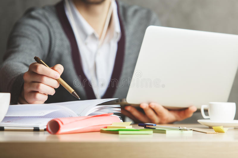 Male hands working on project royalty free stock photo