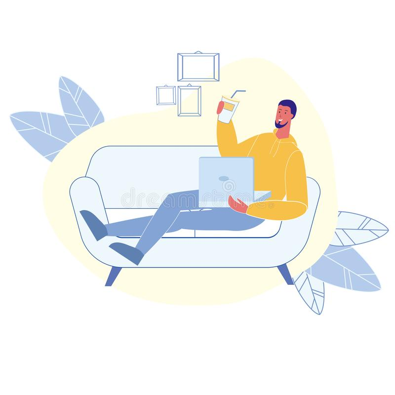Male Happy Remote Worker Flat Vector Character vector illustration