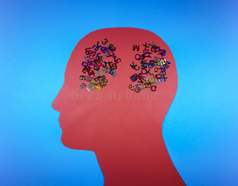 Male head contour with numbers and alphabet letters scattered stock illustration