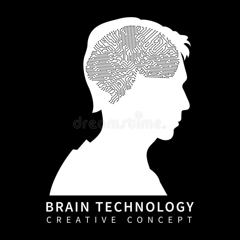 Male head silhouette with chip brain on black background stock illustration
