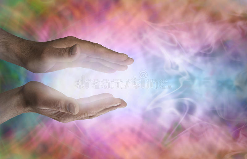 Male healer and beautiful healing energy stock photography