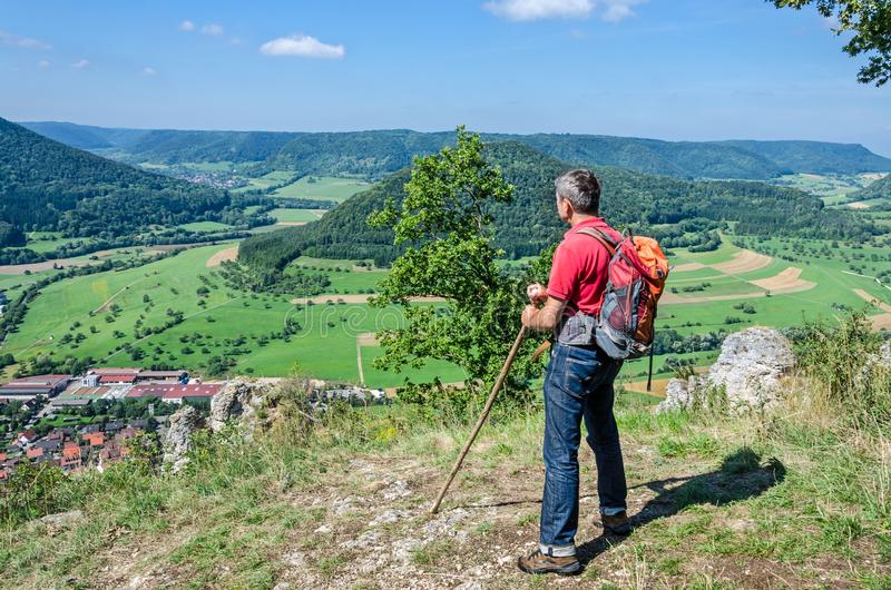Male hiker leaning on staff while looking at beautiful landscape royalty free stock image