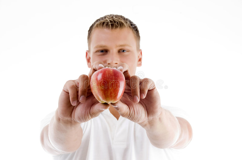 Download Male Holding Apple With Both Hands Royalty Free Stock Photos - Image: 7361858