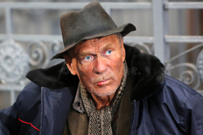 Male homeless beggar stock image