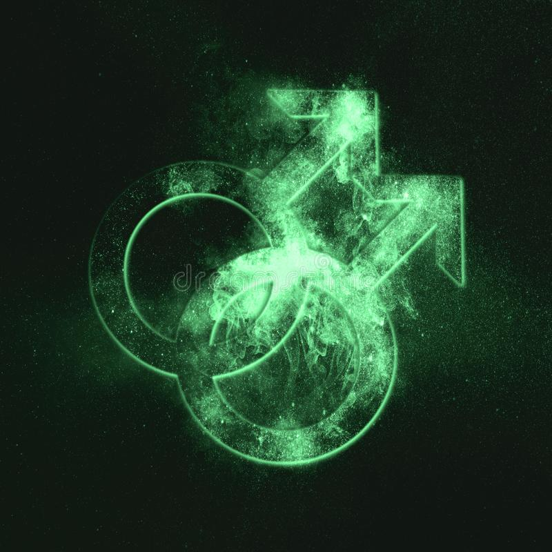 Male homosexuality symbol. Gay glyph. Doubled male sign. Green s. Ymbol. Symbol royalty free stock photo