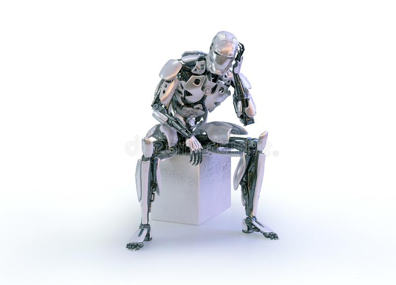 Robot Sit Down And Thinking Stock Illustration - Illustration of