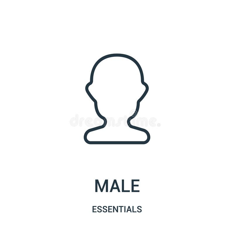 male icon vector from essentials collection. Thin line male outline icon vector illustration. Linear symbol for use on web and royalty free illustration