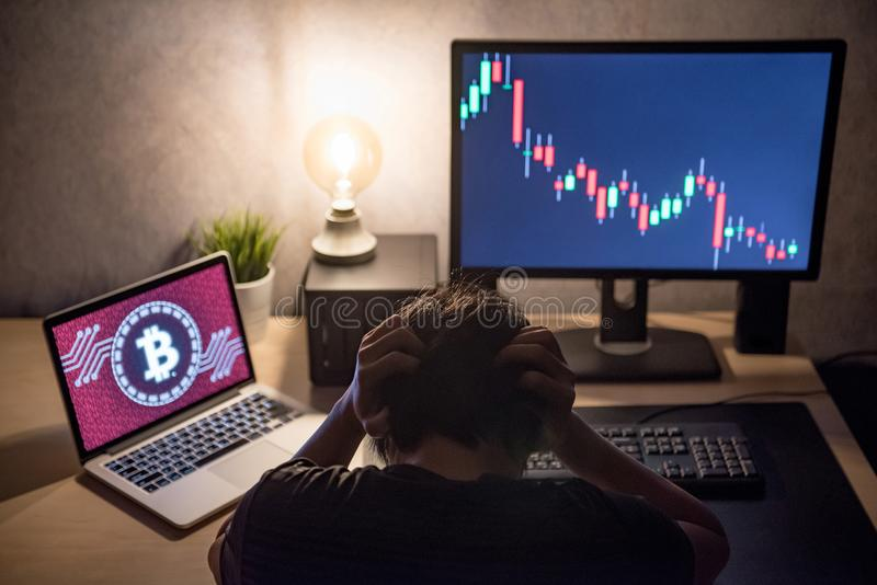 Male Investor feeling stressed due to access denied of bitcoin s. Male Investor feeling stressed and frustrated due to access denied of bitcoin system with royalty free stock photos