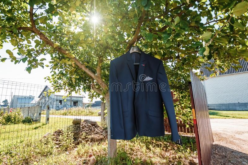 Male jacket, the concept of family relations, wedding paraphernalia royalty free stock image