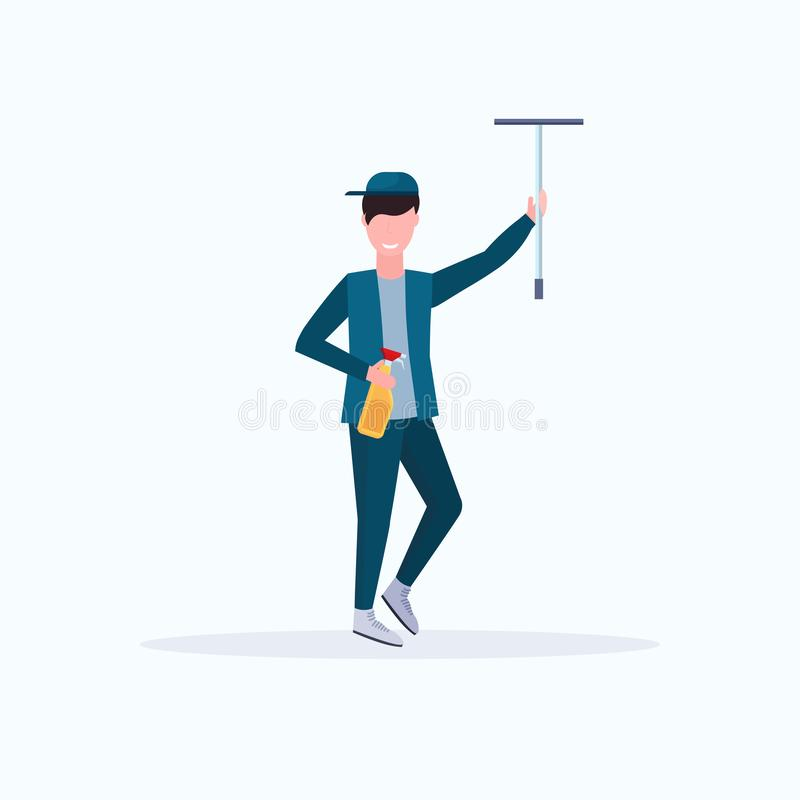 Male janitor in uniform holding shower wiper squeegee and spray plastic bottle man cleaner wiping glass cleaning service vector illustration