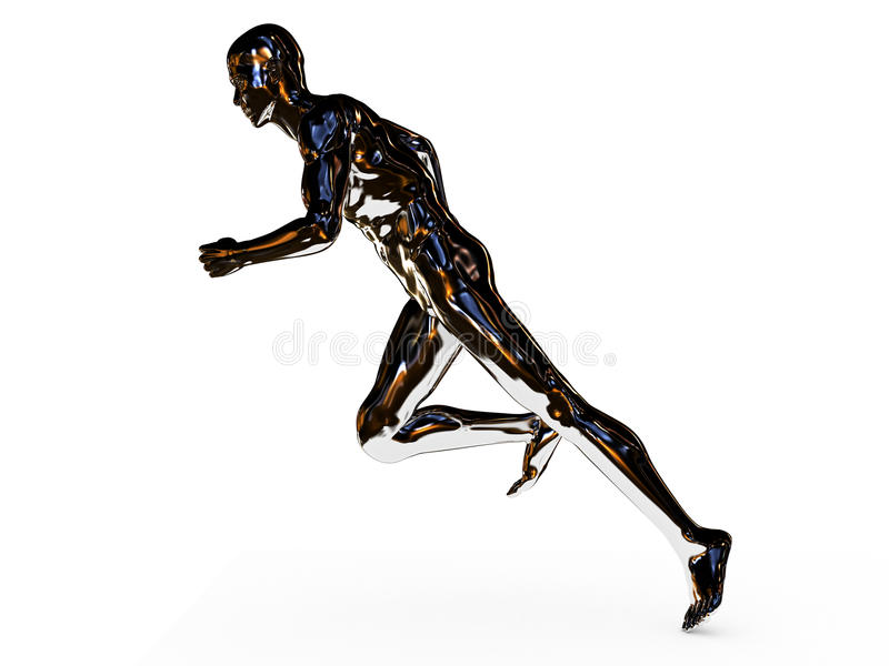 Male jogger. 3d rendered illustration of a male jogger in chrome stock illustration