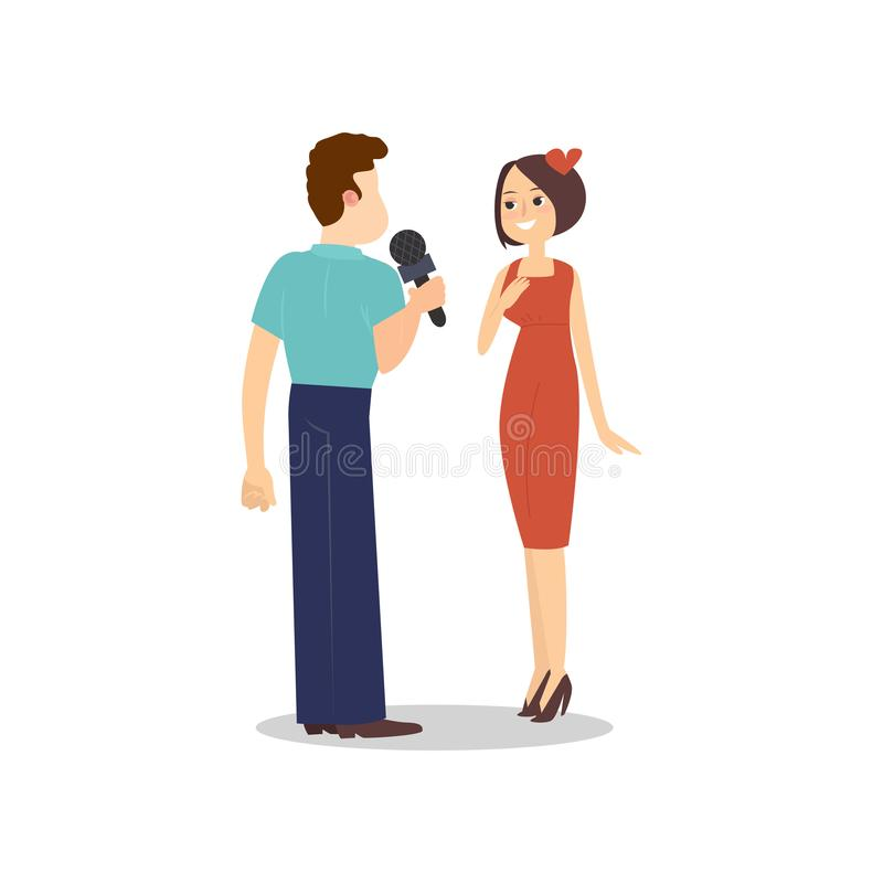 Male journalist with microphone taking interview sexy woman. In red dress. Flat style. Vector illustration on white background stock illustration