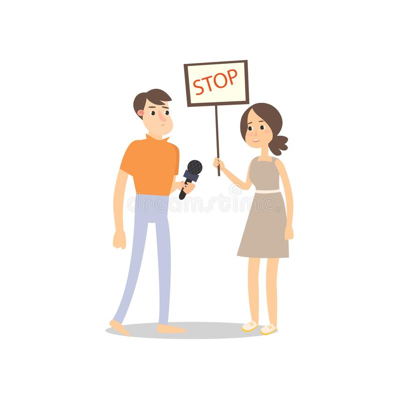 Male journalist record interview with protest girl with board. Male journalist record interview with protest girl with stop sign board. Flat style. Vector royalty free illustration