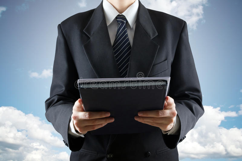 Male Judge Holding Documents on sky background. Ordeal, divine court.  royalty free stock photo