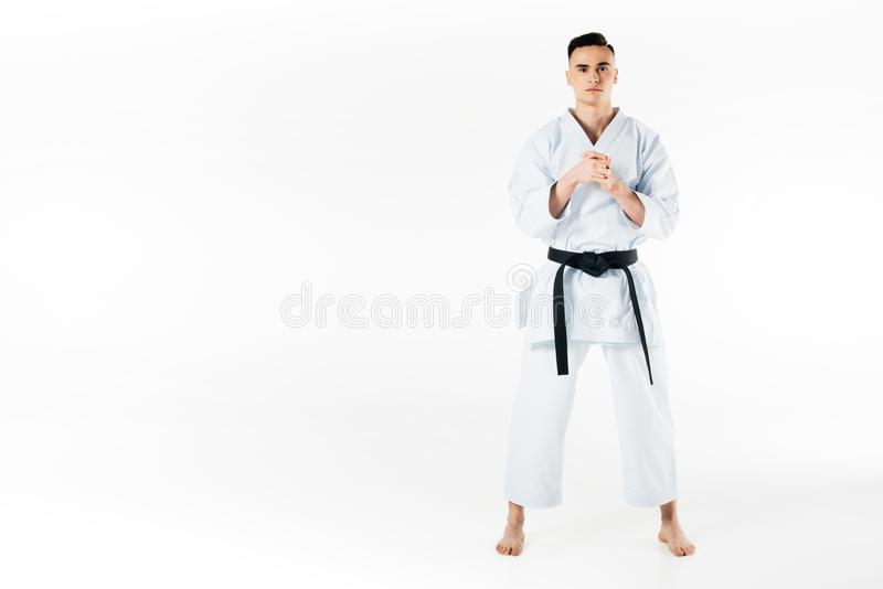 Male karate fighter stretching fingers. Isolated on white royalty free stock images