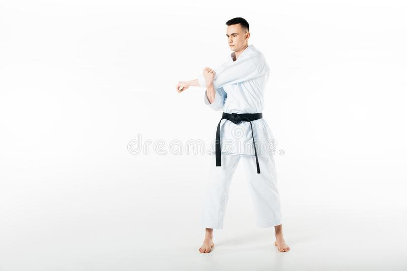 Male karate fighter stretching hands. Isolated on white royalty free stock photography