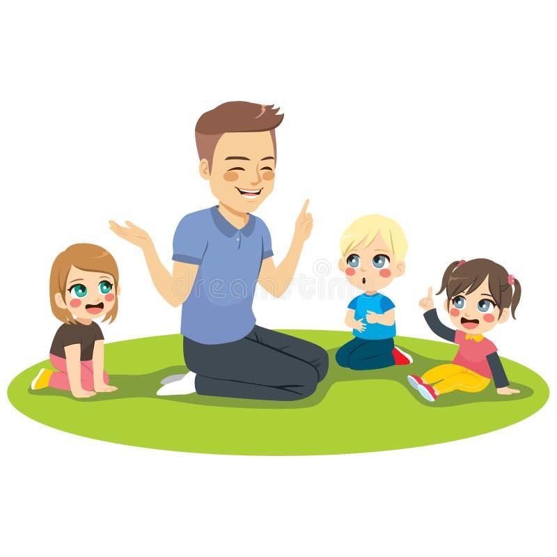 Male Kindergarten Teacher With Kids. Young male kindergarten teacher explaining lesson to attentive kids sitting on floor stock illustration