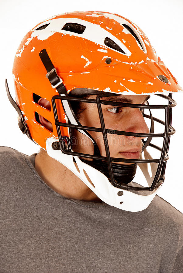 Male lacrosse player close up head shot with helmet stock photo