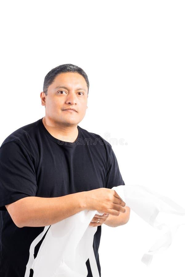 Male Latino Wearing Apron royalty free stock image