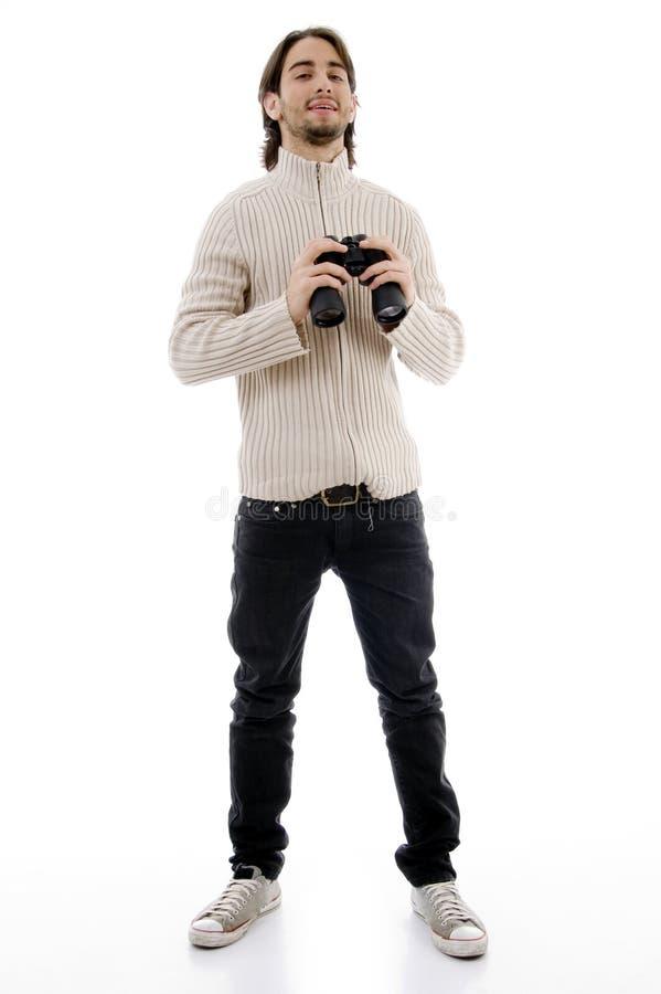 male le för binokulär holding arkivfoton