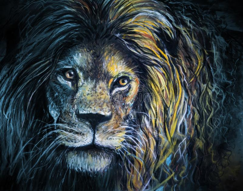Male lion portrait pastel and charcoal art royalty free stock photo
