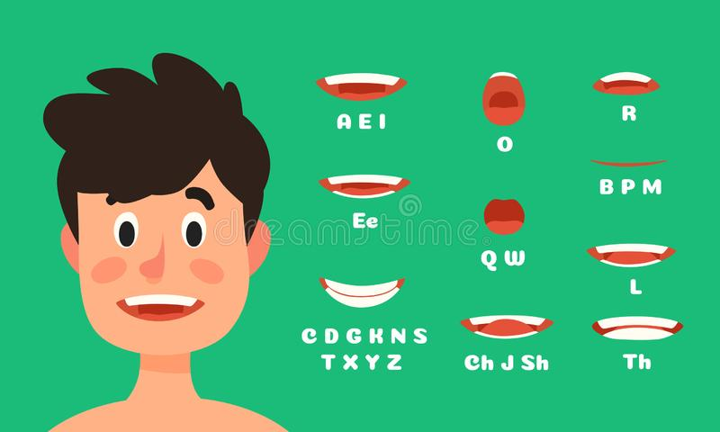 Male lips sync animation. Man character talking mouth expressions, speaking face animations flat vector illustration stock illustration
