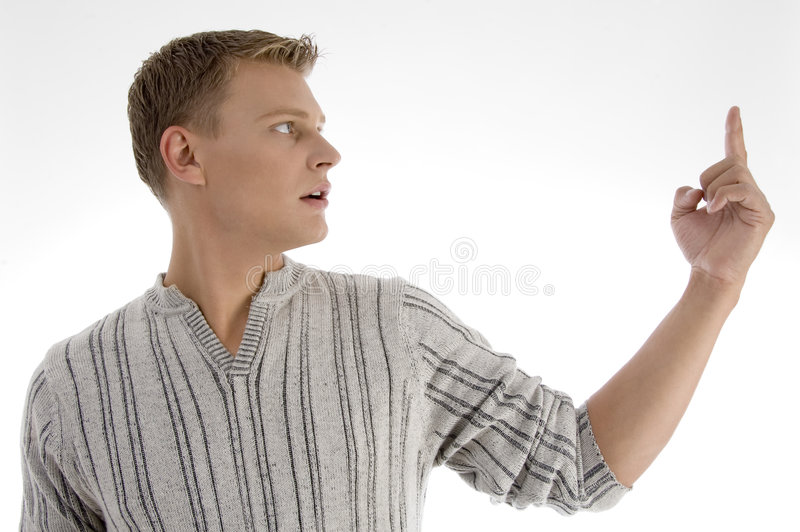Male looking at his index finger