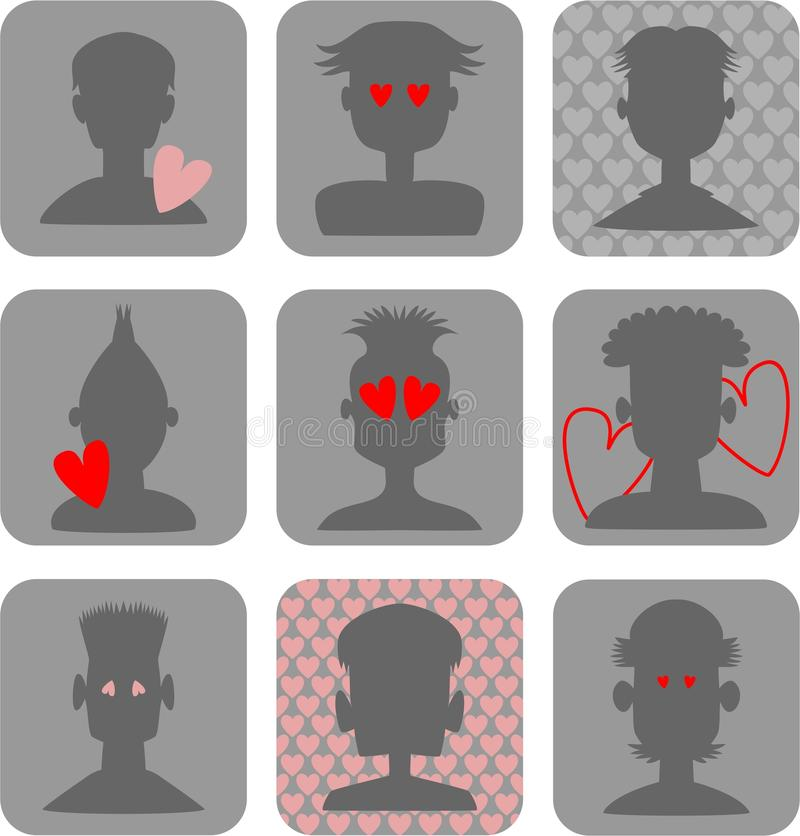 Male Love Icons royalty free illustration