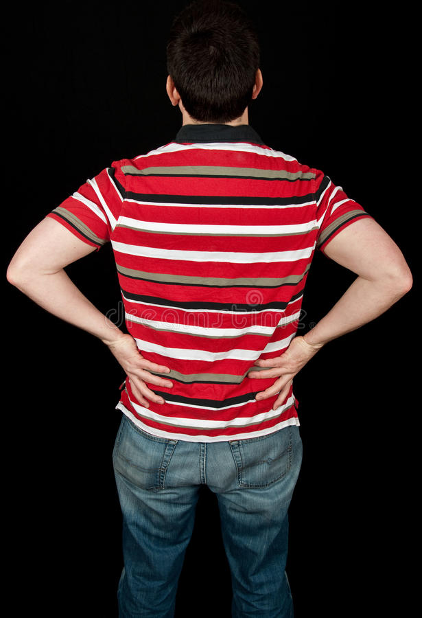 Download Male With Lower Back Pain On Black Stock Image - Image: 13685863
